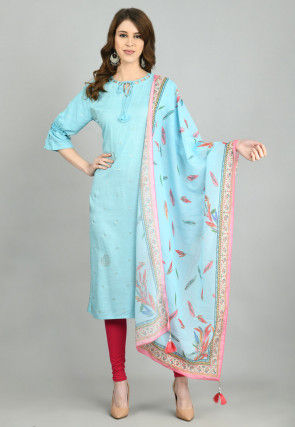 Foil Printed Cotton Straight Suit in Sky Blue