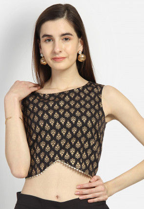 Foil Printed Crepe Crop Top in Black