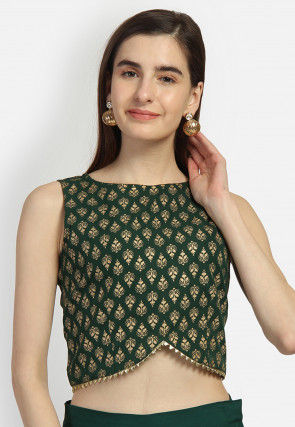 Foil Printed Crepe Crop Top in Dark Green