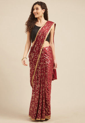 Foil Printed Crepe Saree in Maroon