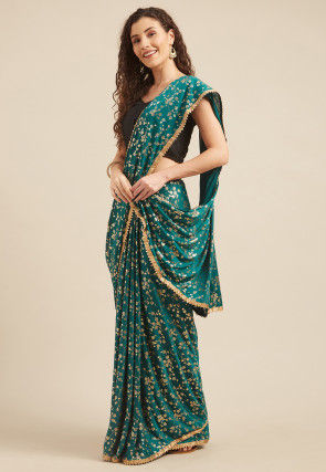 Foil Printed Crepe Saree in Teal Blue