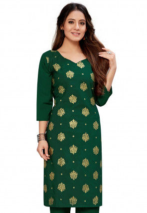 Foil Printed Crepe Straight Kurta in Dark Green