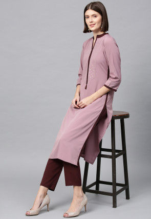 Foil Printed Crepe Straight Kurta in Old Rose