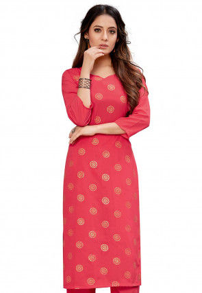 Foil Printed Crepe Straight Kurta in Peach