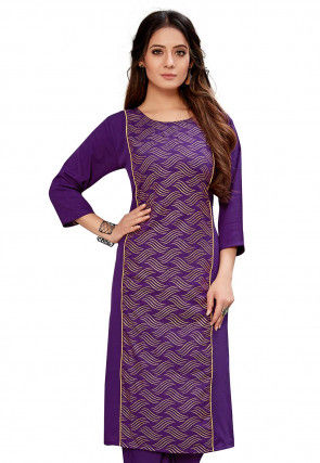 Foil Printed Crepe Straight Kurta in Purple