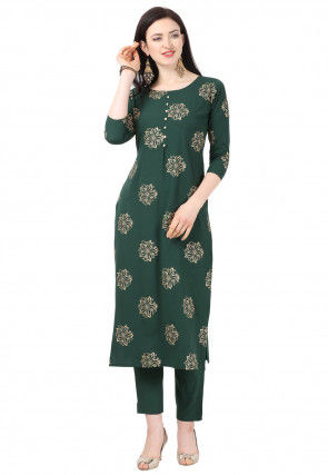 Foil Printed Crepe Straight Kurta Set in Dark Green