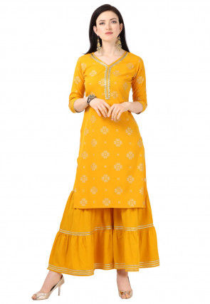 Foil Printed Crepe Straight Kurta Set in Mustard