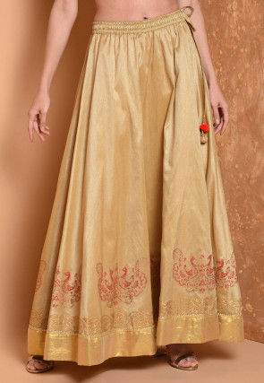 Foil Printed Dupion Silk Flared Skirt in Beige