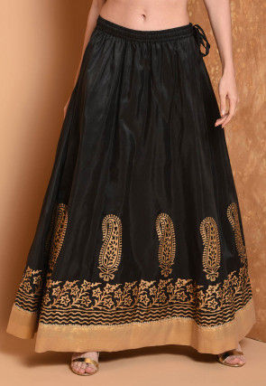 Foil Printed Dupion Silk Flared Skirt in Black
