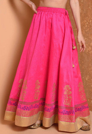 Foil Printed Dupion Silk Flared Skirt in Fuchsia