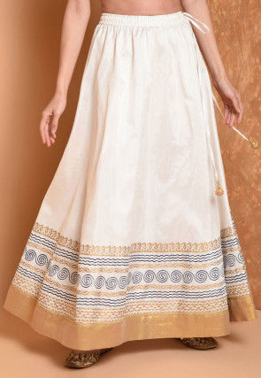 Foil Printed Dupion Silk Flared Skirt in Off White