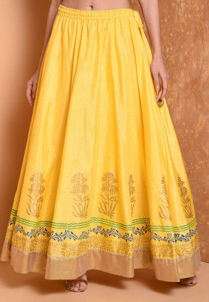 Foil Printed Dupion Silk Flared Skirt in Yellow