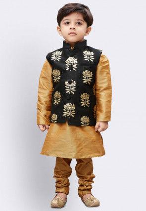 Foil Printed Dupion Silk Kurta Jacket Set in Beige and Black