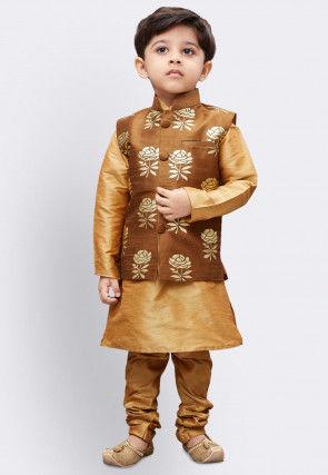 Foil Printed Dupion Silk Kurta Jacket Set in Beige and Brown
