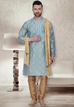 Foil Printed Dupion Silk Kurta Set in Light Blue