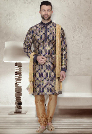 Foil Printed Dupion Silk Kurta Set in Navy Blue