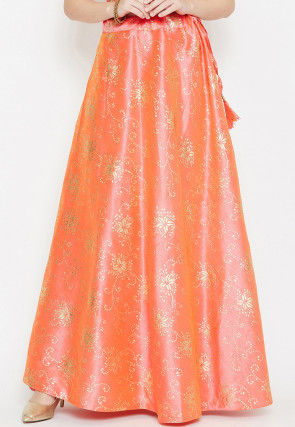 Foil Printed Dupion Silk Long Skirt in Peach