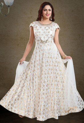 Foil Printed Georgette Abaya Style Suit in Off White
