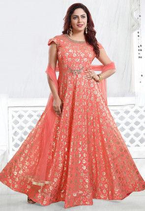 Foil Printed Georgette Abaya Style Suit in Peach