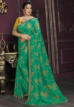 Foil Printed Georgette Brasso Saree in Teal Green
