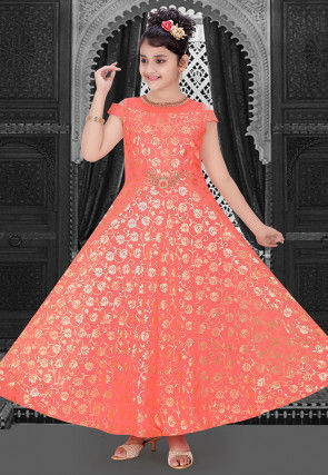 Foil Printed Georgette Gown in Dark Peach