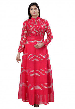 Foil Printed Georgette Gown in Fuchsia