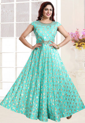 Foil Printed Georgette Gown in Light Teal Green