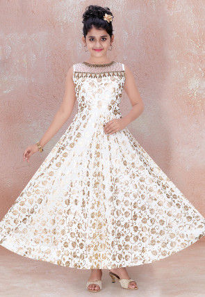 Foil Printed Georgette Gown in Off White