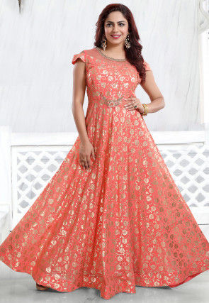 Foil Printed Georgette Gown in Peach