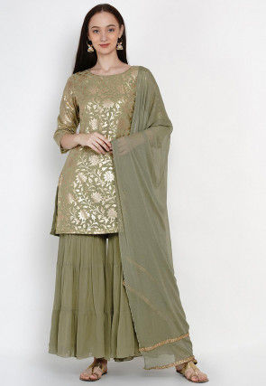 Foil Printed Georgette Pakistani Suit in Dusty Green