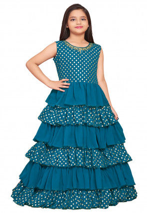 Foil Printed Georgette Ruffled Gown in Teal Blue