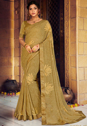 Foil Printed Georgette Saree in Dusty Green