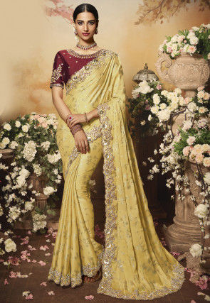 Foil Printed Georgette Saree in Light Yellow