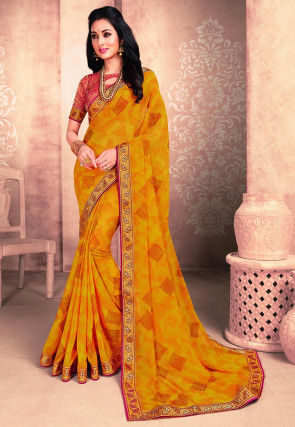 Foil Printed Georgette Saree in Mustard