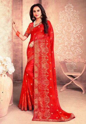 Foil Printed Georgette Saree in Red