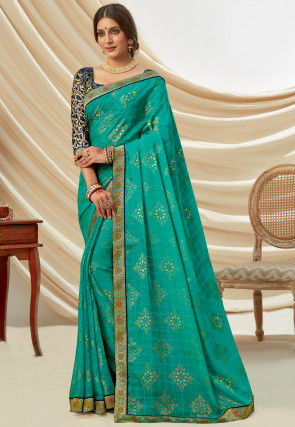 Foil Printed Georgette Saree in Turquoise