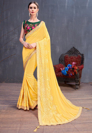 Foil Printed Georgette Saree in Yellow