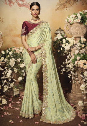 Foil Printed Georgette Scalloped Saree in Light Green