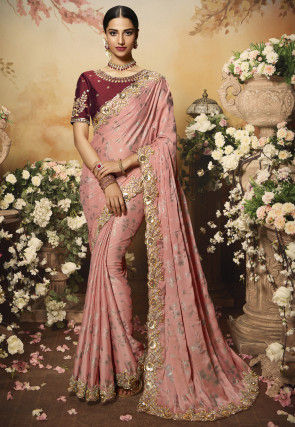 Foil Printed Georgette Scalloped Saree in Peach