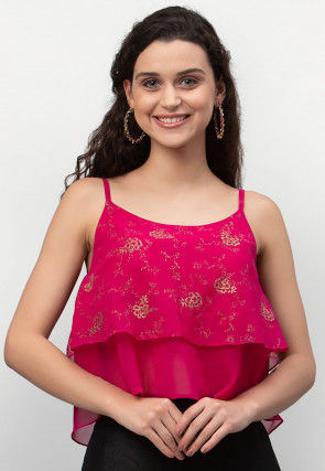 Foil Printed Georgette Strappy Layered Crop Top in Fuchsia