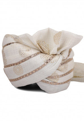 Foil Printed Kota Doria Turban in Off White