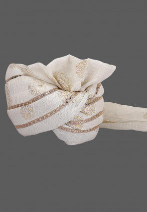 Foil Printed Kota Doria Kids Turban in Off White