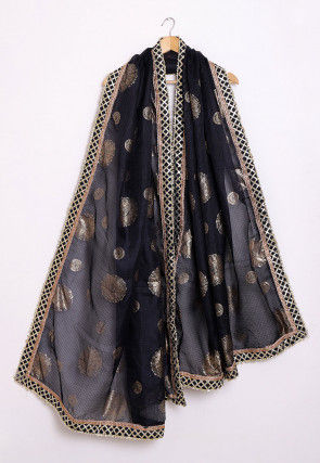 Foil Printed Kota Silk Dupatta in Black