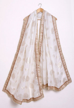 Foil Printed Kota Silk Dupatta in Cream