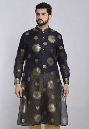 Foil Printed Kota Silk Kurta in Black