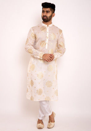 Foil Printed Kota Silk Kurta in Off White