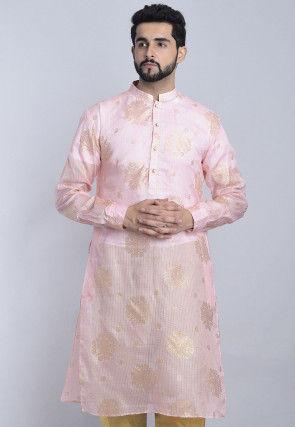 Foil Printed Kota Silk Kurta in Pink