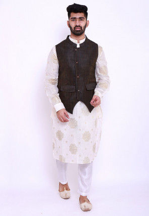 Foil Printed Kota Silk Kurta Jacket Set in Off White and Brown