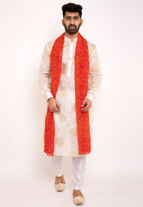Foil Printed Kota Silk Kurta Set in Off White