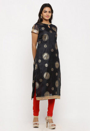 Foil Printed Kota Silk Straight Kurta Set in Black